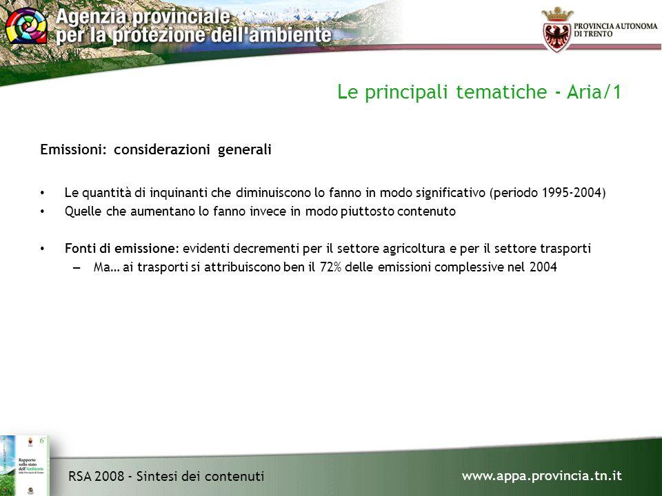 www.appa.provincia.tn.it RSA 2008 - Sintesi dei contenuti Le principali tematiche - Aria/1 Emissioni: considerazioni generali Le quantità di inquinanti che diminuiscono lo fanno in modo significativo (periodo 1995-2004) Quelle che aumentano lo fanno invece in modo piuttosto contenuto Fonti di emissione: evidenti decrementi per il settore agricoltura e per il settore trasporti – Ma… ai trasporti si attribuiscono ben il 72% delle emissioni complessive nel 2004