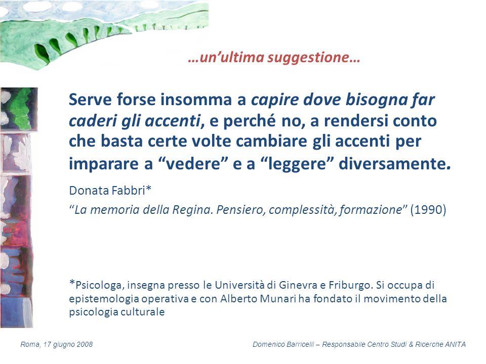 Domenico Barricelli – Responsabile Centro Studi & Ricerche ANITARoma, 17 giugno 2008 …unultima suggestione… Serve forse insomma a capire dove bisogna