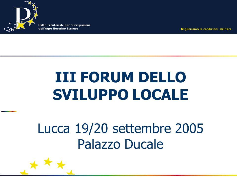 III FORUM DELLO SVILUPPO LOCALE Lucca 19/20 settembre 2005 Palazzo Ducale