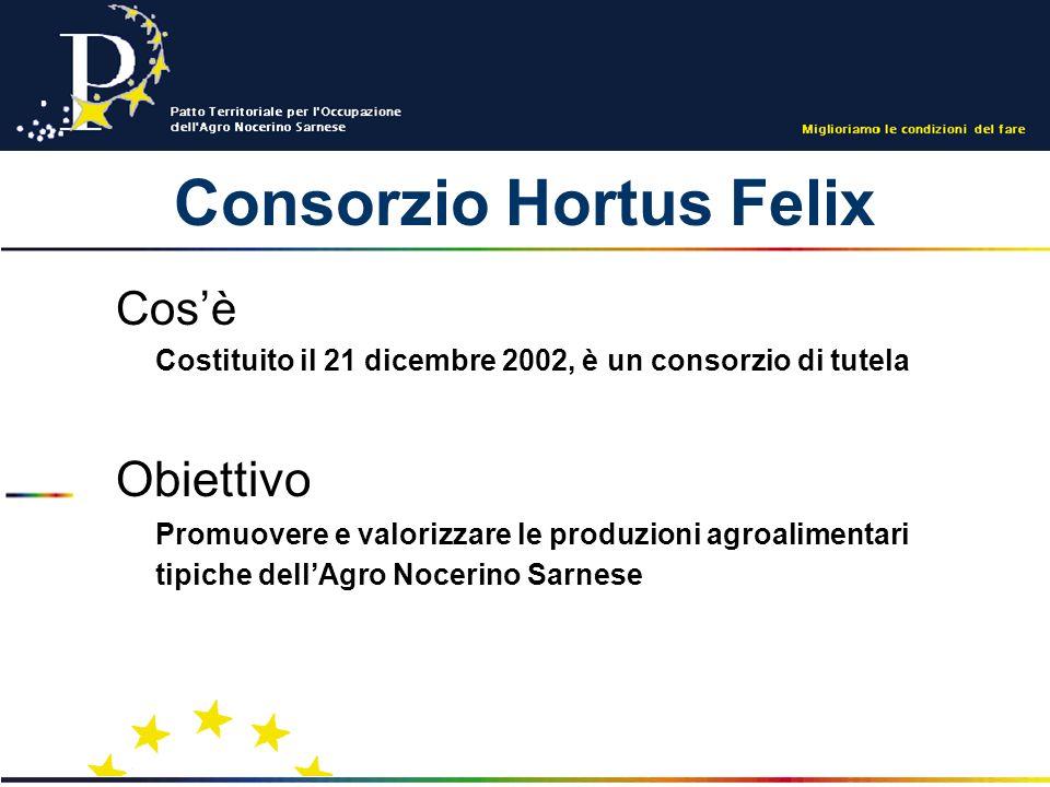 Consorzio Hortus Felix Cosè Costituito il 21 dicembre 2002, è un consorzio di tutela Obiettivo Promuovere e valorizzare le produzioni agroalimentari tipiche dellAgro Nocerino Sarnese