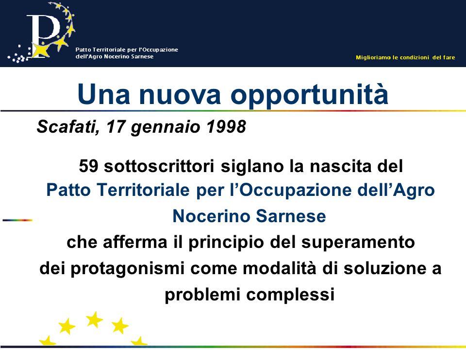 Una nuova opportunità Scafati, 17 gennaio 1998 59 sottoscrittori siglano la nascita del Patto Territoriale per lOccupazione dellAgro Nocerino Sarnese che afferma il principio del superamento dei protagonismi come modalità di soluzione a problemi complessi