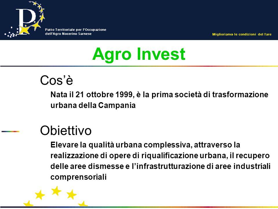 Agro Invest Cosè Nata il 21 ottobre 1999, è la prima società di trasformazione urbana della Campania Obiettivo Elevare la qualità urbana complessiva, attraverso la realizzazione di opere di riqualificazione urbana, il recupero delle aree dismesse e linfrastrutturazione di aree industriali comprensoriali