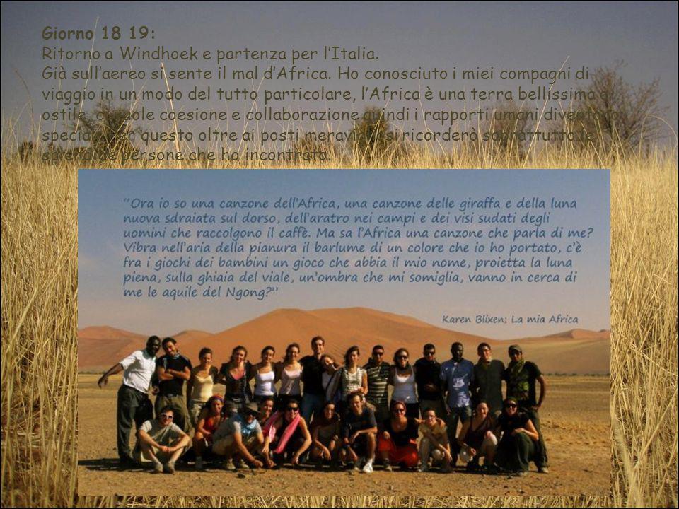 Giorno 18 19: Ritorno a Windhoek e partenza per lItalia. Già sullaereo si sente il mal dAfrica. Ho conosciuto i miei compagni di viaggio in un modo de