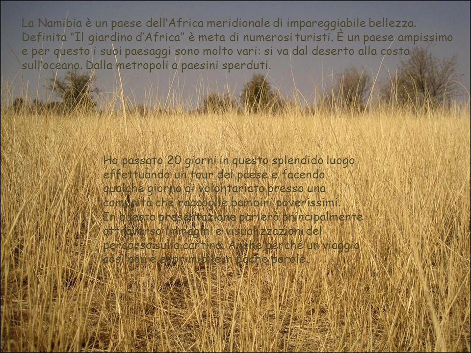 La Namibia è un paese dellAfrica meridionale di impareggiabile bellezza. Definita Il giardino dAfrica è meta di numerosi turisti. È un paese ampissimo