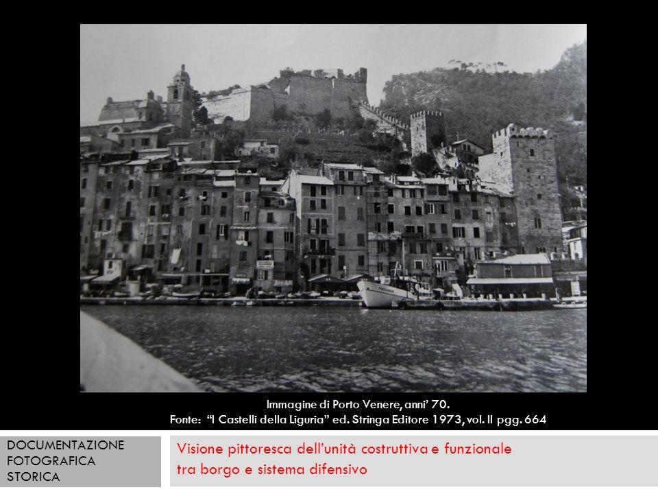 Visione pittoresca dellunità costruttiva e funzionale tra borgo e sistema difensivo Immagine di Porto Venere, anni 70. Fonte: I Castelli della Liguria