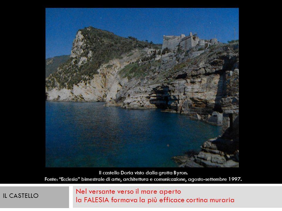 Nel versante verso il mare aperto la FALESIA formava la più efficace cortina muraria Il castello Doria visto dalla grotta Byron. Fonte: Ecclesia bimes