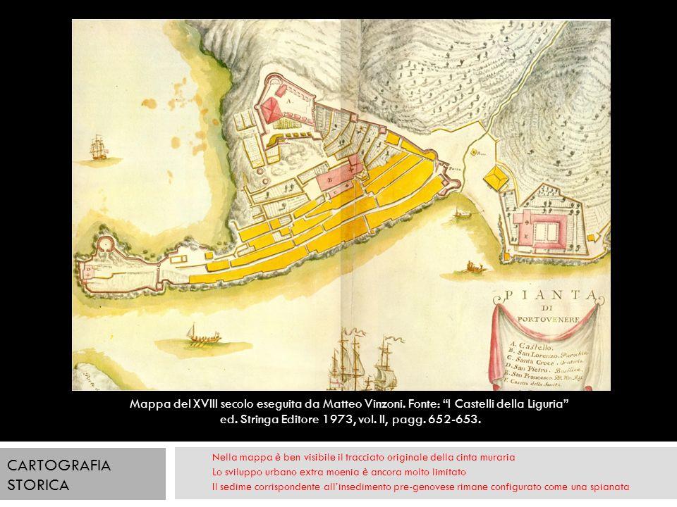 Nella mappa è ben visibile il tracciato originale della cinta muraria Lo sviluppo urbano extra moenia è ancora molto limitato Il sedime corrispondente