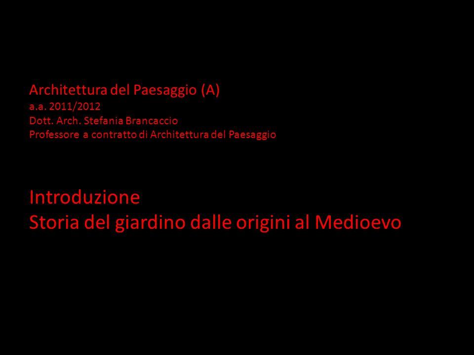 Architettura del Paesaggio (A) a.a. 2011/2012 Dott. Arch. Stefania Brancaccio Professore a contratto di Architettura del Paesaggio Introduzione Storia