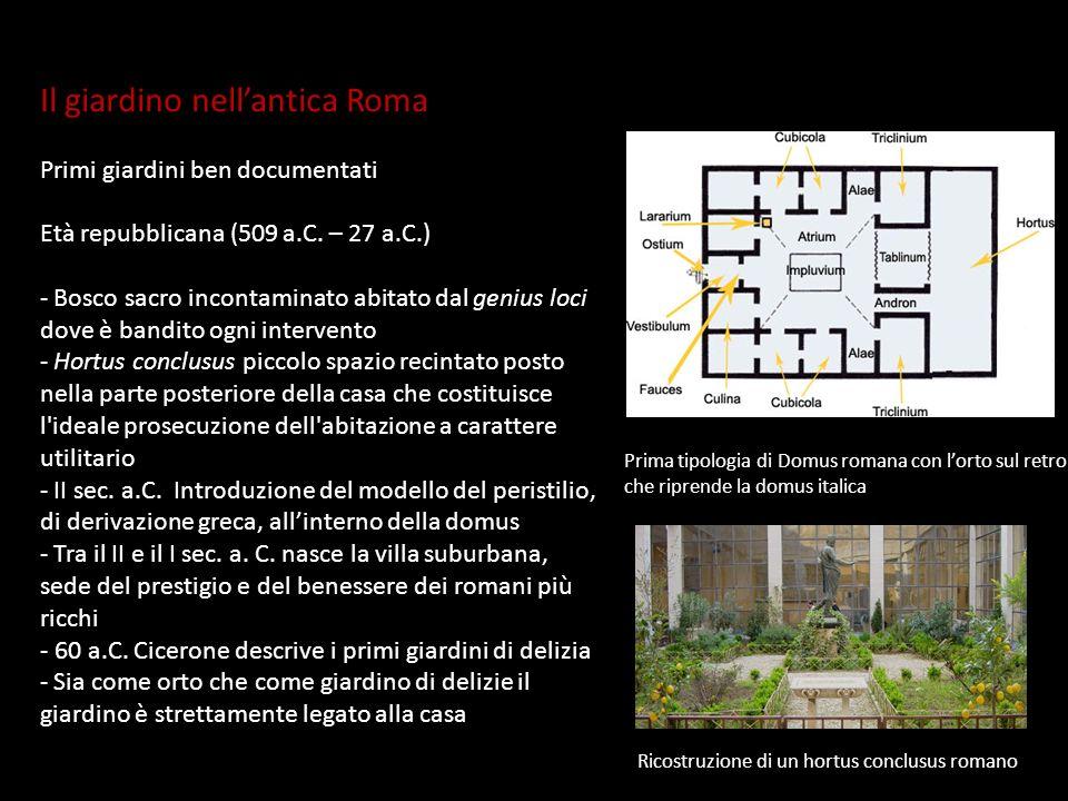 Il giardino nellantica Roma Primi giardini ben documentati Età repubblicana (509 a.C. – 27 a.C.) - Bosco sacro incontaminato abitato dal genius loci d