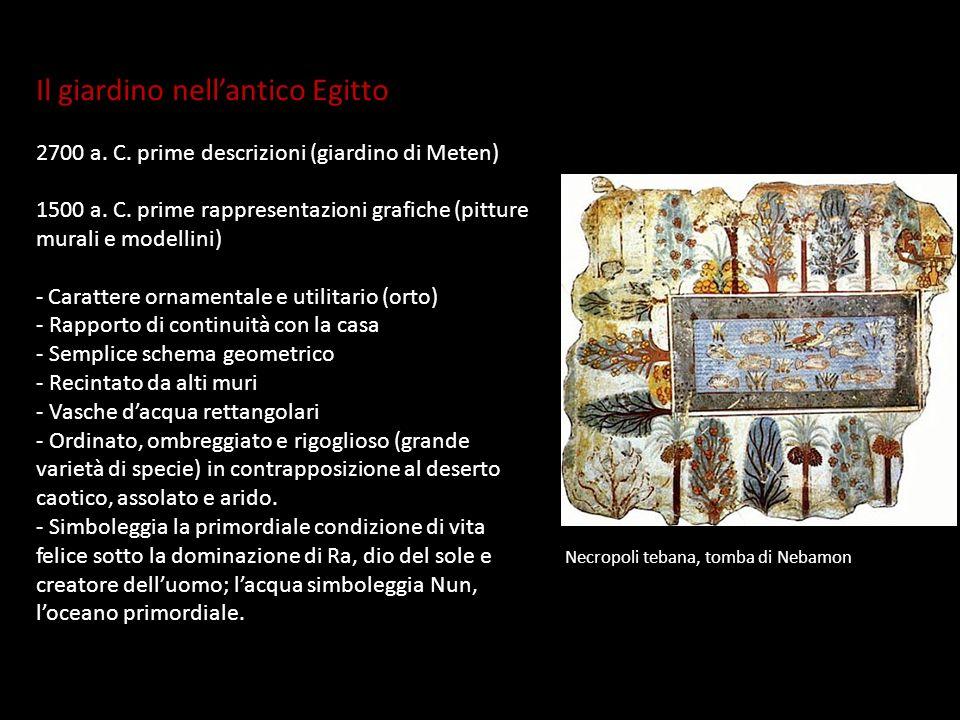 Il giardino nellantico Egitto 2700 a. C. prime descrizioni (giardino di Meten) 1500 a. C. prime rappresentazioni grafiche (pitture murali e modellini)