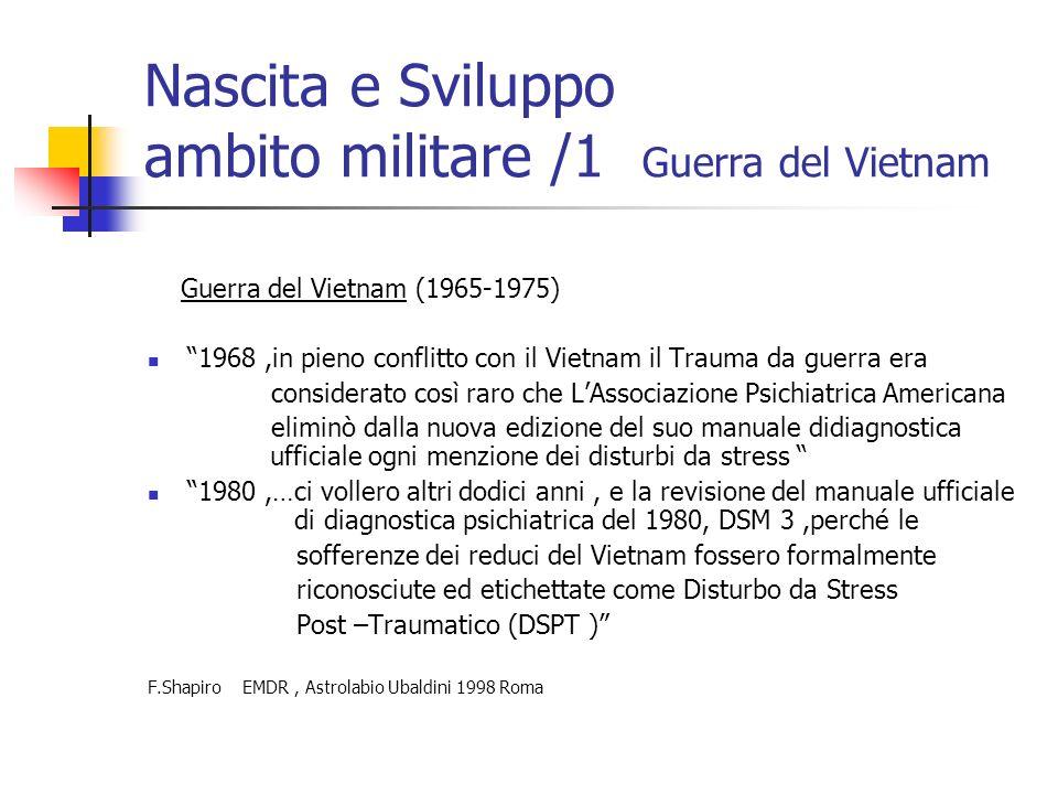 Nascita e Sviluppo ambito militare /1 Guerra del Vietnam Guerra del Vietnam (1965-1975) 1968,in pieno conflitto con il Vietnam il Trauma da guerra era