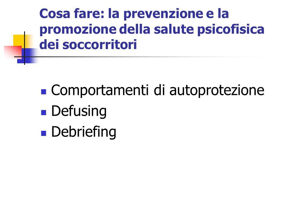 Cosa fare: la prevenzione e la promozione della salute psicofisica dei soccorritori Comportamenti di autoprotezione Defusing Debriefing