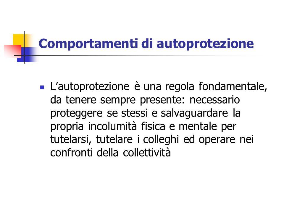 Comportamenti di autoprotezione Lautoprotezione è una regola fondamentale, da tenere sempre presente: necessario proteggere se stessi e salvaguardare