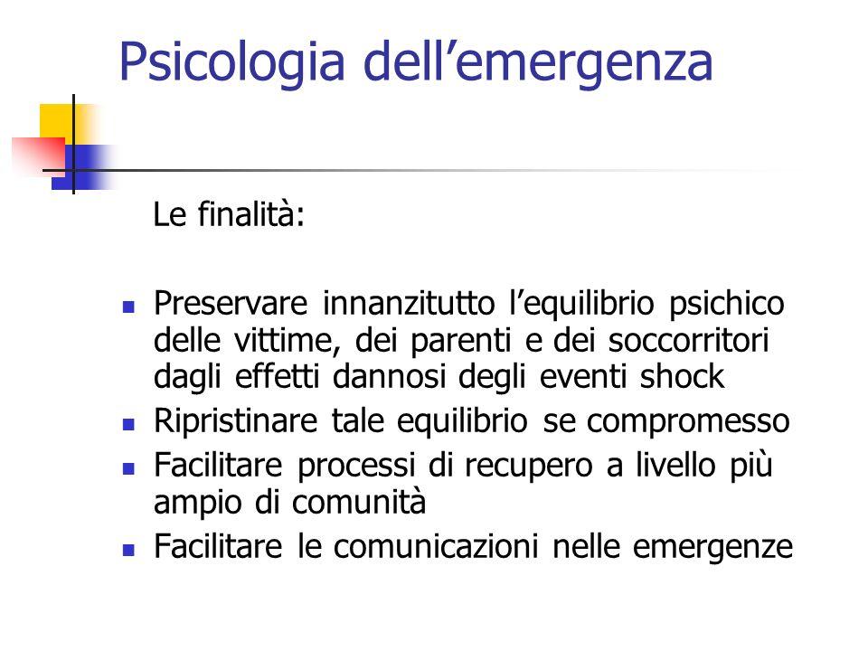 Psicologia dellemergenza Le finalità: Preservare innanzitutto lequilibrio psichico delle vittime, dei parenti e dei soccorritori dagli effetti dannosi