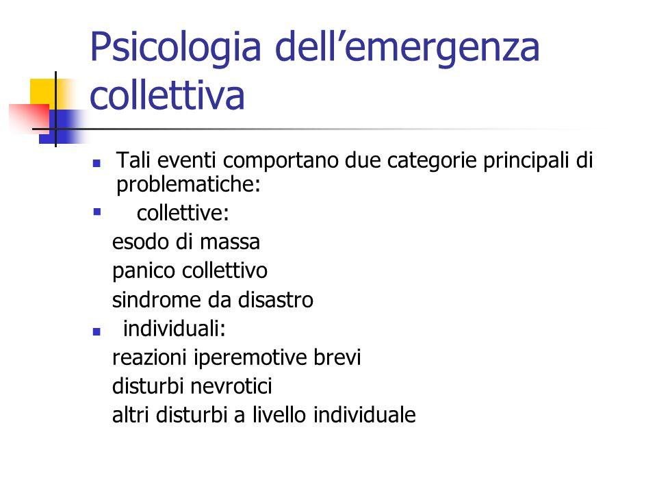 Psicologia dellemergenza collettiva Tali eventi comportano due categorie principali di problematiche: collettive: esodo di massa panico collettivo sin