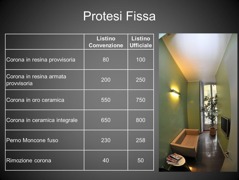 Listino Convenzione Listino Ufficiale Corona in resina provvisoria80100 Corona in resina armata provvisoria 200250 Corona in oro ceramica550750 Corona
