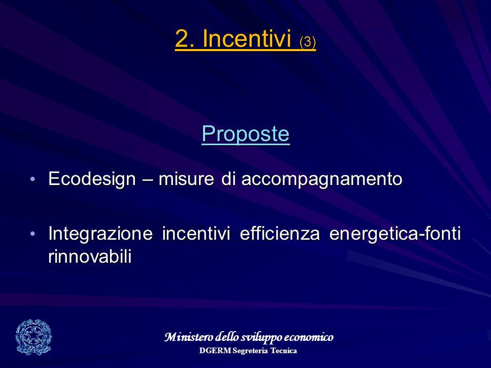 Ministero dello sviluppo economico DGERM Segreteria Tecnica 2. Incentivi (3) Proposte Ecodesign – misure di accompagnamento Ecodesign – misure di acco