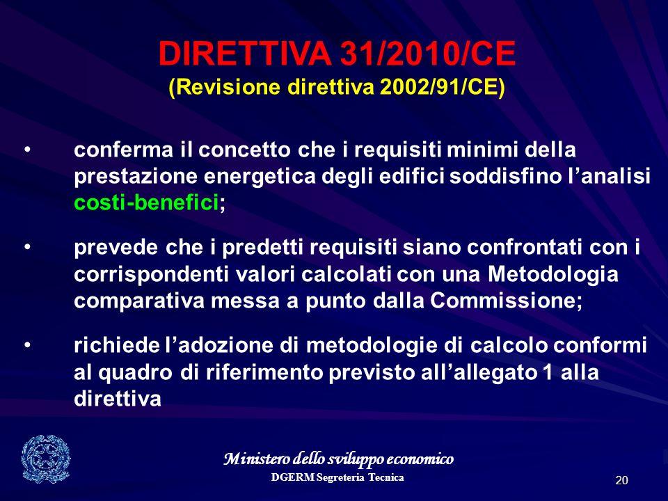 Ministero dello sviluppo economico DGERM Segreteria Tecnica 20 DIRETTIVA 31/2010/CE (Revisione direttiva 2002/91/CE) conferma il concetto che i requis
