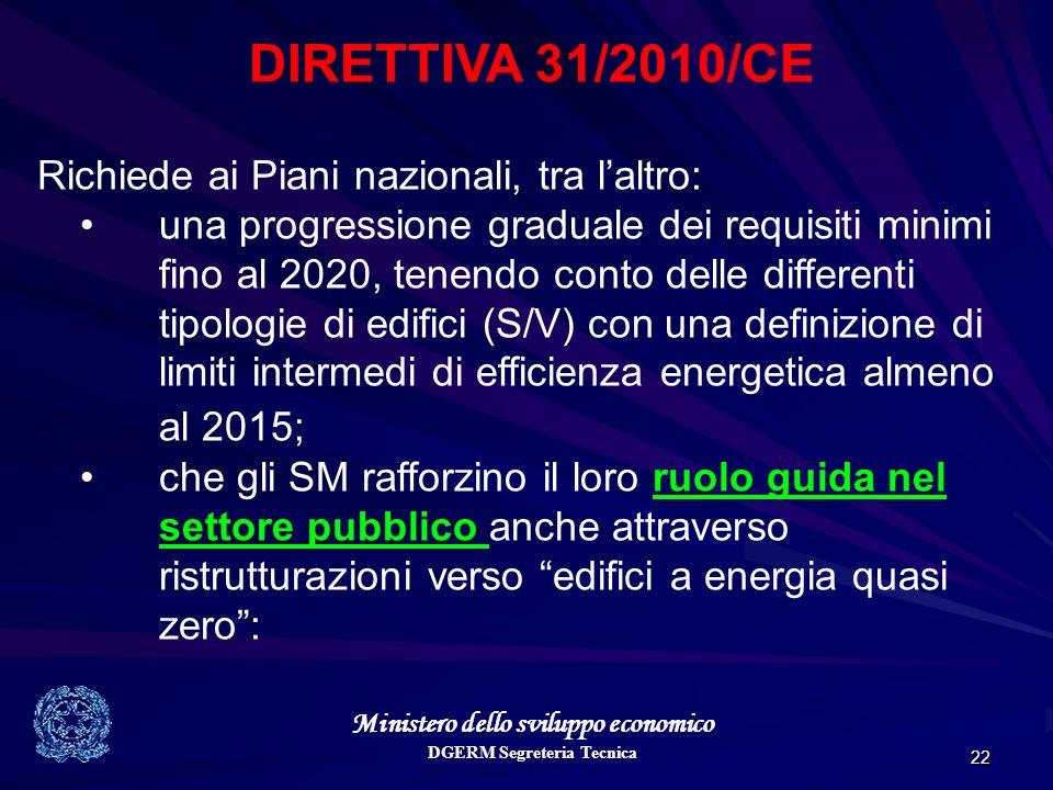 Ministero dello sviluppo economico DGERM Segreteria Tecnica 22 DIRETTIVA 31/2010/CE Richiede ai Piani nazionali, tra laltro: una progressione graduale