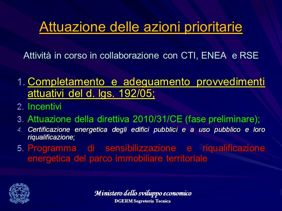 Ministero dello sviluppo economico DGERM Segreteria Tecnica Attuazione delle azioni prioritarie Attività in corso in collaborazione con CTI, ENEA e RSE 1.