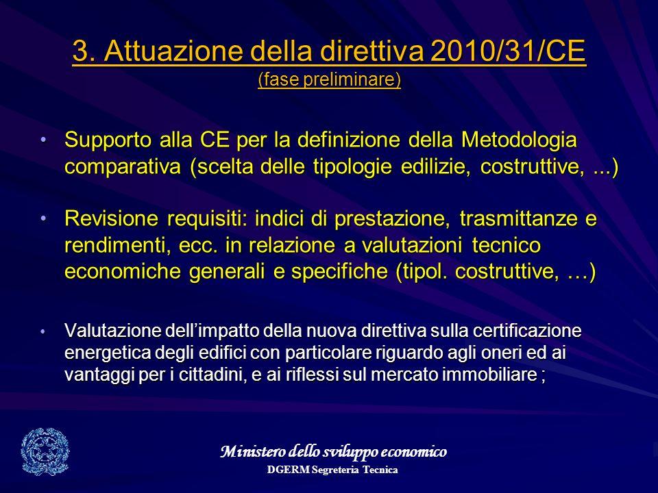 Ministero dello sviluppo economico DGERM Segreteria Tecnica 3. Attuazione della direttiva 2010/31/CE (fase preliminare) Supporto alla CE per la defini