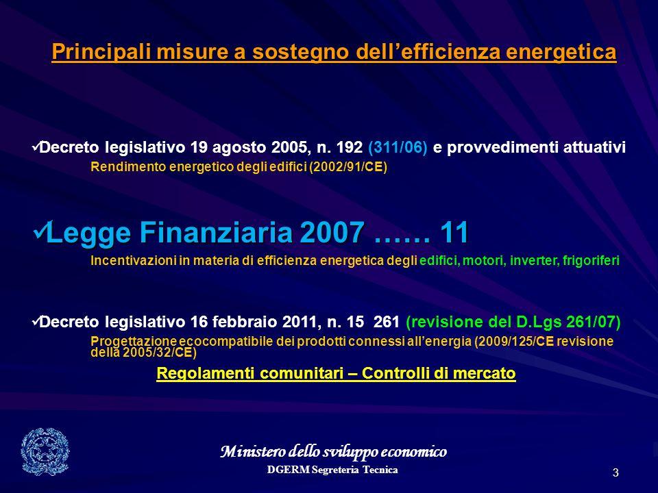Ministero dello sviluppo economico DGERM Segreteria Tecnica 3 Principali misure a sostegno dellefficienza energetica Decreto legislativo 19 agosto 2005, n.