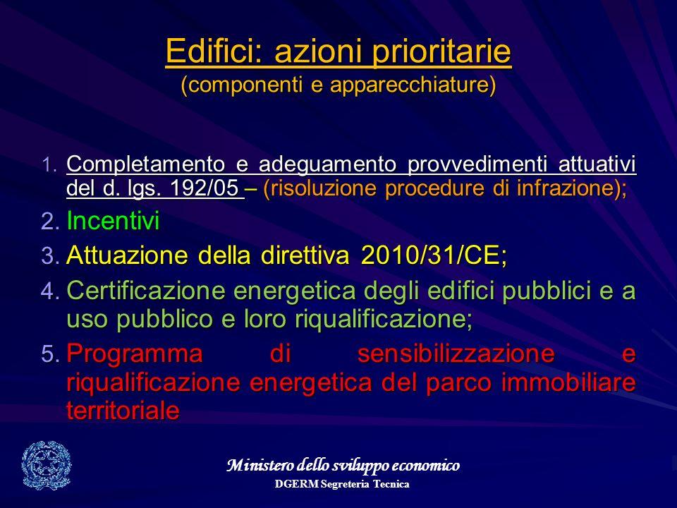 Ministero dello sviluppo economico DGERM Segreteria Tecnica Edifici: azioni prioritarie (componenti e apparecchiature) 1. Completamento e adeguamento