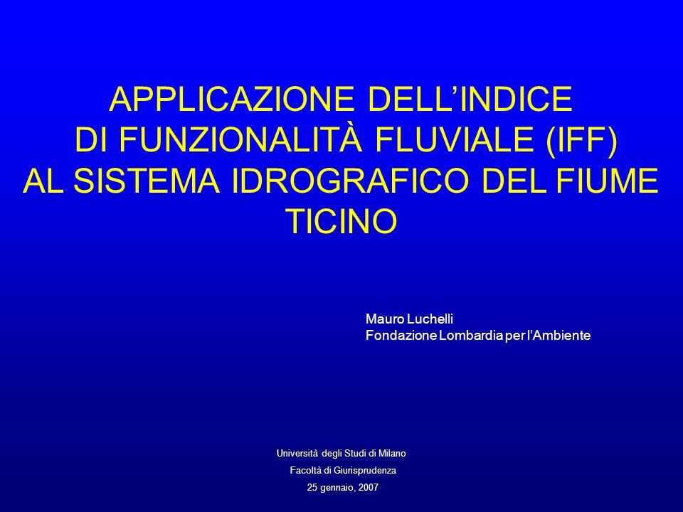 APPLICAZIONE DELLINDICE DI FUNZIONALITÀ FLUVIALE (IFF) AL SISTEMA IDROGRAFICO DEL FIUME TICINO Mauro Luchelli Fondazione Lombardia per lAmbiente Unive
