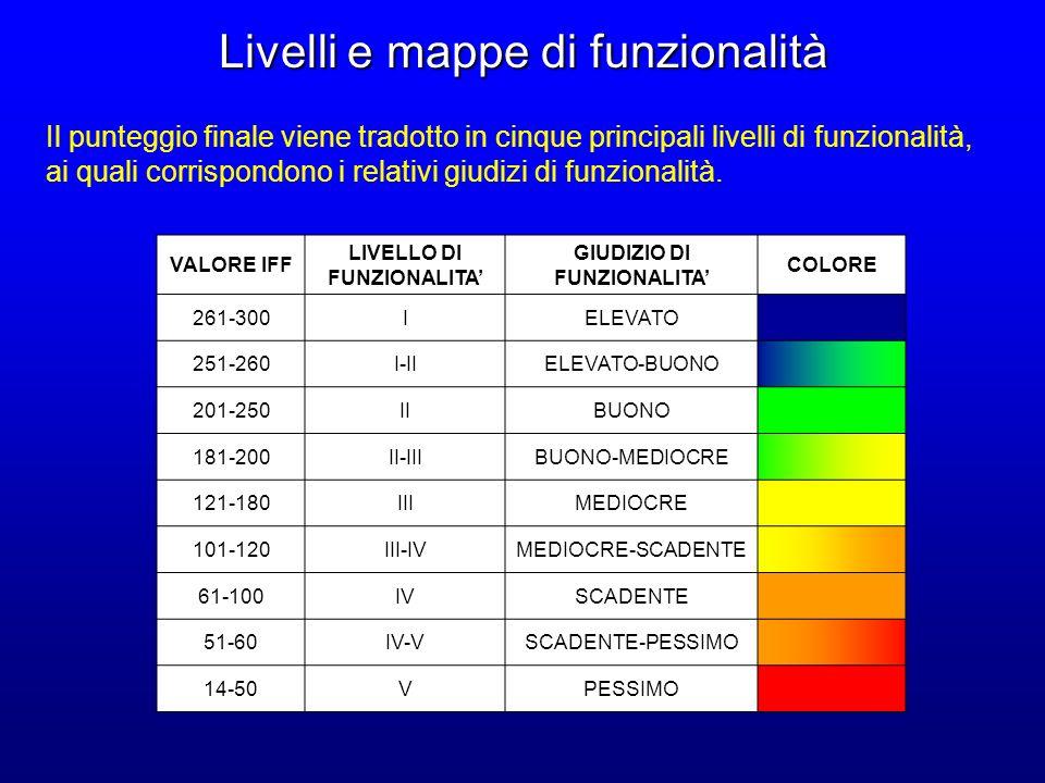 Livelli e mappe di funzionalità VALORE IFF LIVELLO DI FUNZIONALITA GIUDIZIO DI FUNZIONALITA COLORE 261-300IELEVATO 251-260I-IIELEVATO-BUONO 201-250IIB