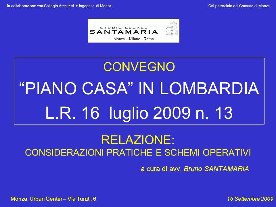 RELAZIONE: CONSIDERAZIONI PRATICHE E SCHEMI OPERATIVI a cura di avv. Bruno SANTAMARIA In collaborazione con Collegio Architetti e Ingegneri di Monza C