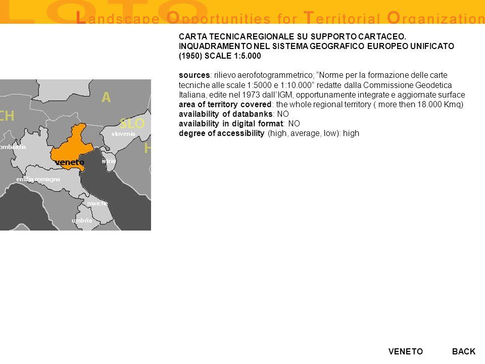 VENETO CARTA TECNICA REGIONALE SU SUPPORTO CARTACEO. INQUADRAMENTO NEL SISTEMA GEOGRAFICO EUROPEO UNIFICATO (1950) SCALE 1:5.000 sources: rilievo aero