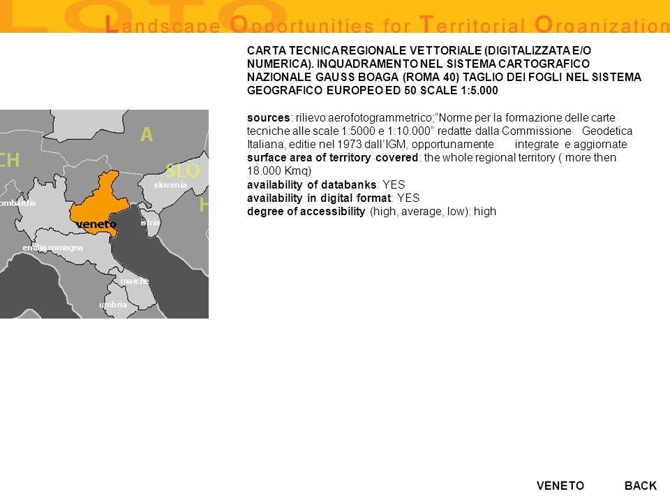 VENETO CARTA TECNICA REGIONALE VETTORIALE (DIGITALIZZATA E/O NUMERICA). INQUADRAMENTO NEL SISTEMA CARTOGRAFICO NAZIONALE GAUSS BOAGA (ROMA 40) TAGLIO