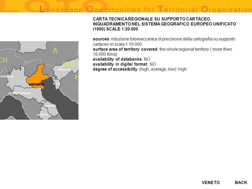 VENETO CARTA TECNICA REGIONALE SU SUPPORTO CARTACEO. INQUADRAMENTO NEL SISTEMA GEOGRAFICO EUROPEO UNIFICATO (1950) SCALE 1:20.000 sources: riduzione f