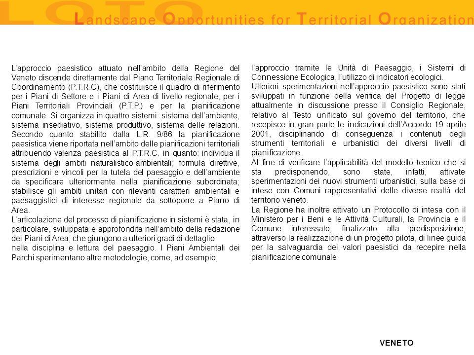 VENETO Lapproccio paesistico attuato nellambito della Regione del Veneto discende direttamente dal Piano Territoriale Regionale di Coordinamento (P.T.