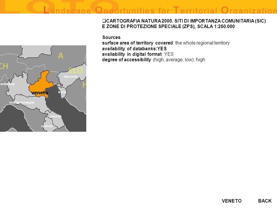 VENETO CARTOGRAFIA NATURA 2000. SITI DI IMPORTANZA COMUNITARIA (SIC) E ZONE DI PROTEZIONE SPECIALE (ZPS), SCALA 1:250.000 Sources surface area of terr