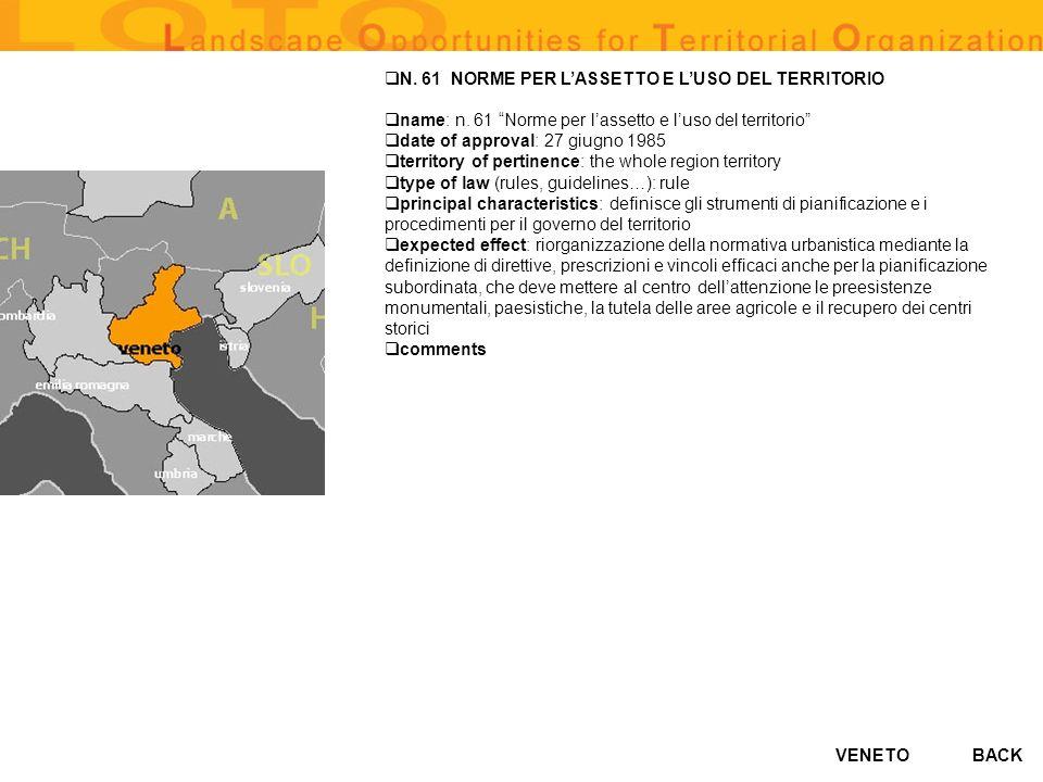 VENETO N. 61 NORME PER LASSETTO E LUSO DEL TERRITORIO name: n. 61 Norme per lassetto e luso del territorio date of approval: 27 giugno 1985 territory