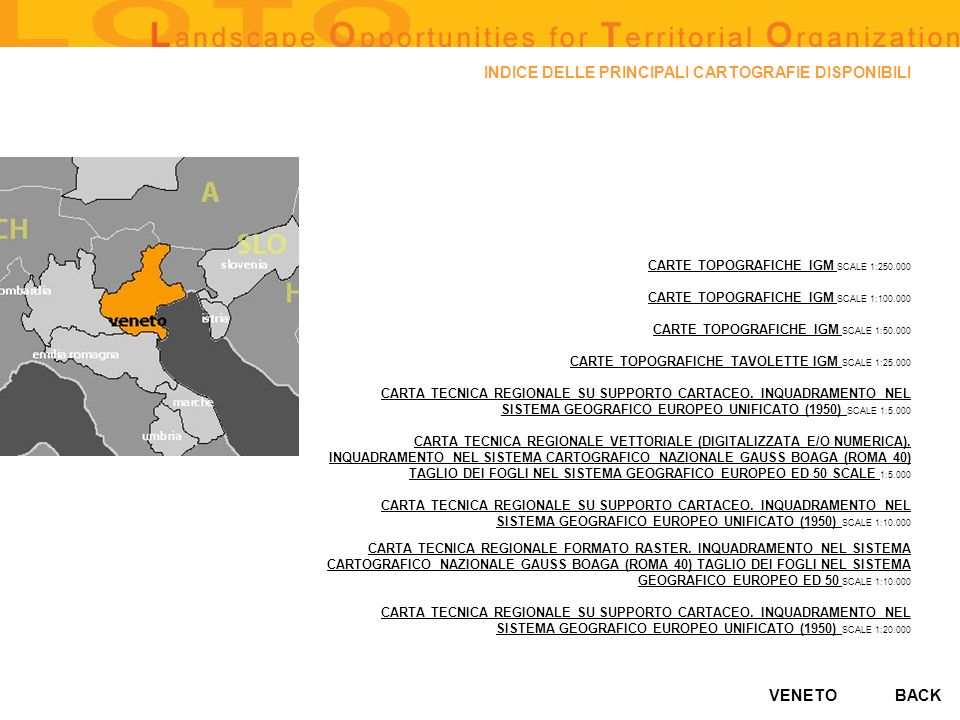 VENETO CENSIMENTO DELLE GROTTE DEL VENETO sources: surface area of territory covered: the whole regional territory availability of databanks: YES availability in digital format: YES degree of accessibility (high, average, low): high BACK