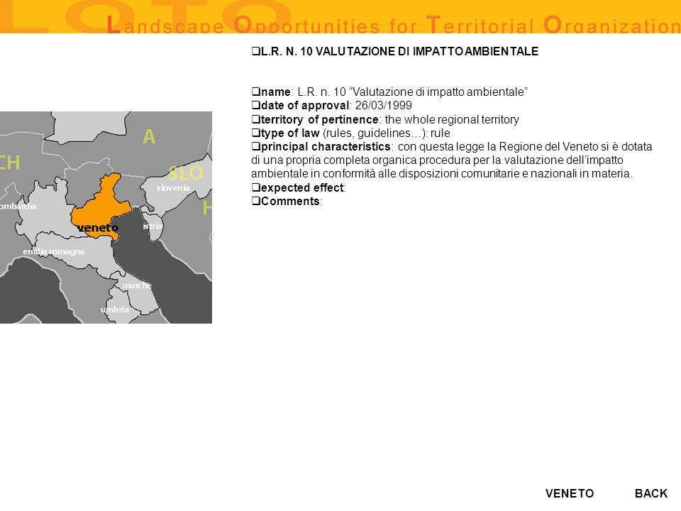 VENETO L.R. N. 10 VALUTAZIONE DI IMPATTO AMBIENTALE name: L.R. n. 10 Valutazione di impatto ambientale date of approval: 26/03/1999 territory of perti
