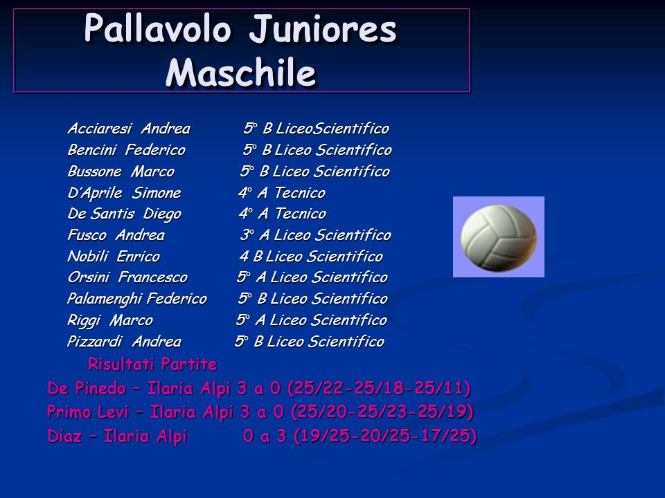 Pallavolo Juniores Femminile Casaldi Giulia 3° A Liceo Scientifico Casaldi Giulia 3° A Liceo Scientifico Carlevale Chiara 5° A Liceo Scientifico Carle