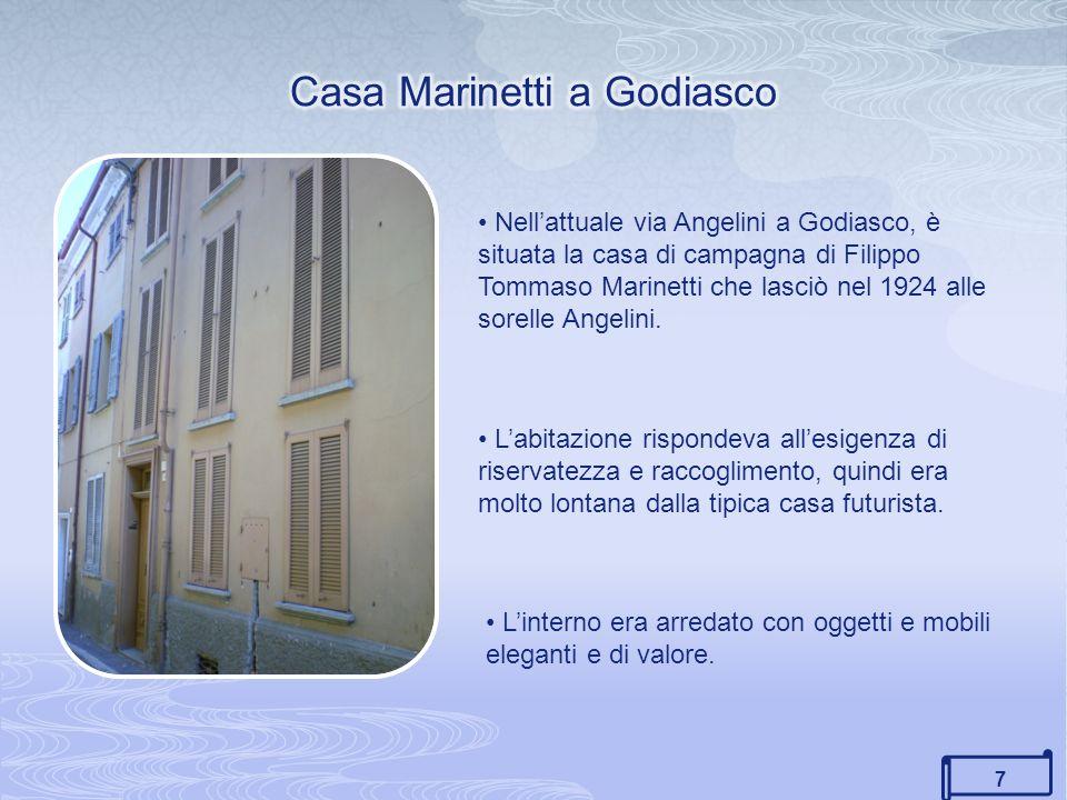 7 Nellattuale via Angelini a Godiasco, è situata la casa di campagna di Filippo Tommaso Marinetti che lasciò nel 1924 alle sorelle Angelini.