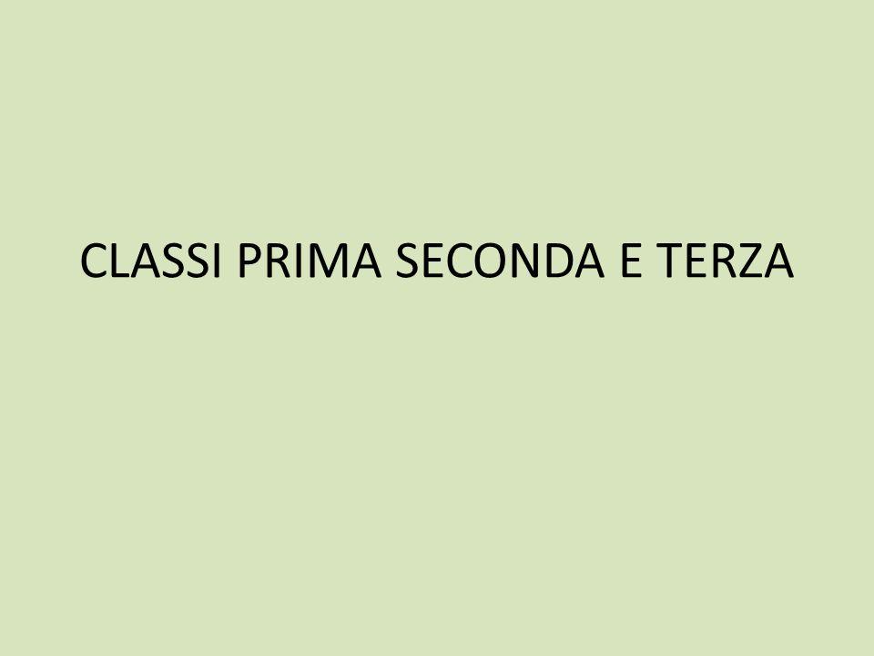 CLASSI PRIMA SECONDA E TERZA