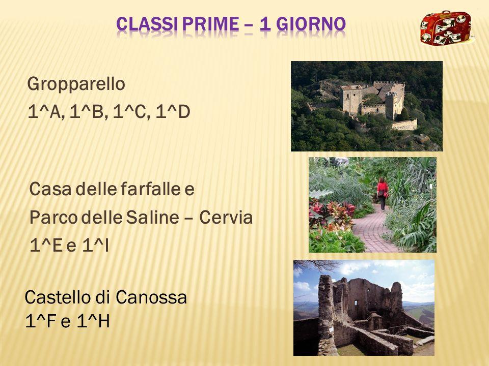 Gropparello 1^A, 1^B, 1^C, 1^D Casa delle farfalle e Parco delle Saline – Cervia 1^E e 1^I Castello di Canossa 1^F e 1^H
