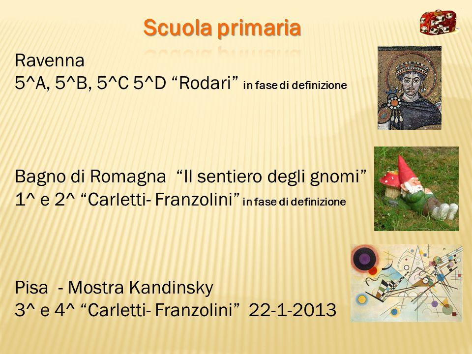 Ravenna 5^A, 5^B, 5^C 5^D Rodari in fase di definizione Bagno di Romagna Il sentiero degli gnomi 1^ e 2^ Carletti- Franzolini in fase di definizione P