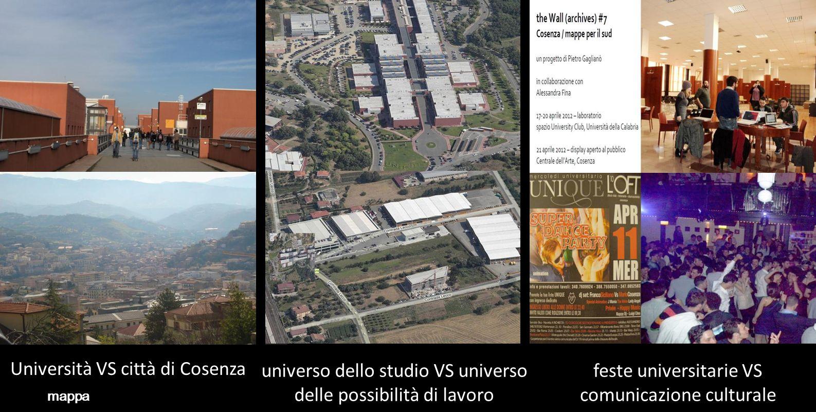 Università VS città di Cosenza mappa universo dello studio VS universo delle possibilità di lavoro feste universitarie VS comunicazione culturale