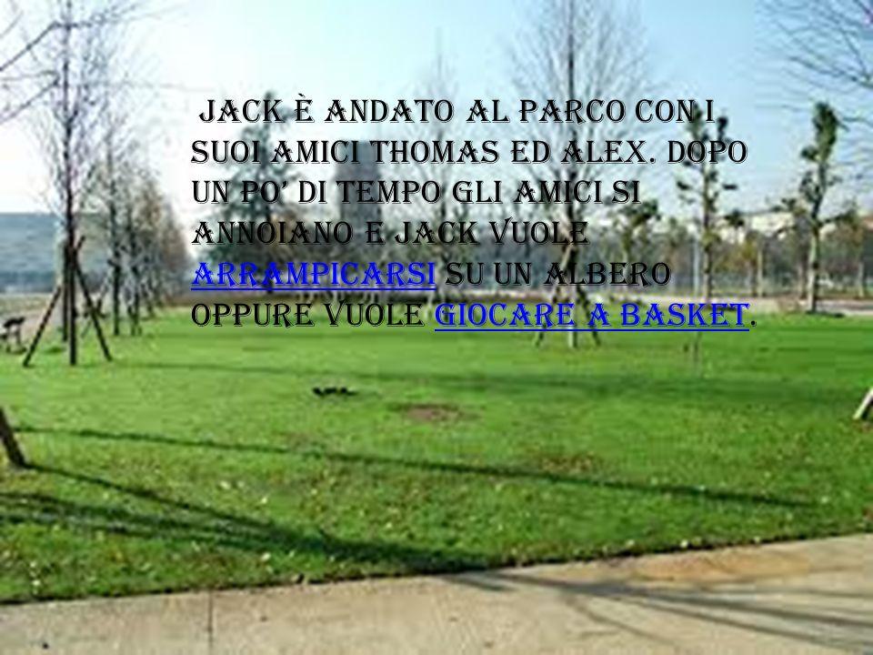 Jack è andato al parco con i suoi amici Thomas ed Alex. Dopo un po di tempo gli amici si annoiano e jack vuole arrampicarsi su un albero oppure vuole