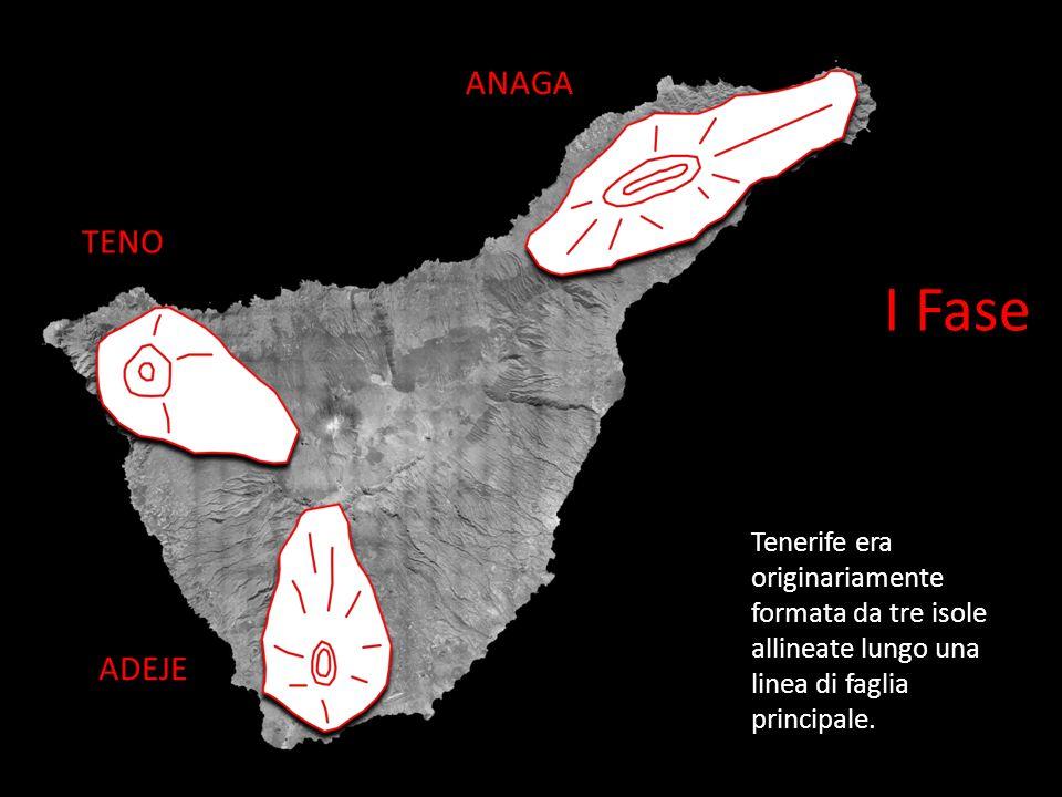 I Fase Tenerife era originariamente formata da tre isole allineate lungo una linea di faglia principale.