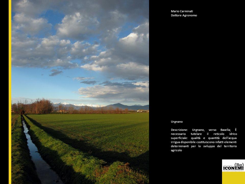 Mario Carminati Dottore Agronomo Urgnano Descrizione: Urgnano, verso Basella; È necessario tutelare il reticolo idrico superficiale: qualità e quantit