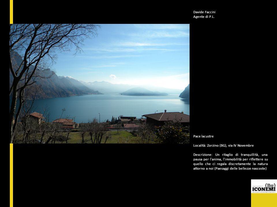 Davide Faccini Agente di P.L. Pace lacustre Località: Zorzino (BG), via IV Novembre Descrizione: Un ritaglio di tranquillità, una pausa per l'anima, l