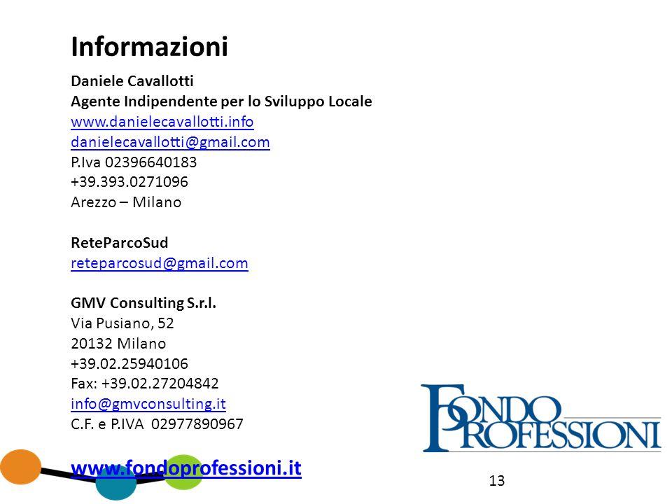 13 Informazioni Daniele Cavallotti Agente Indipendente per lo Sviluppo Locale www.danielecavallotti.info danielecavallotti@gmail.com P.Iva 02396640183 +39.393.0271096 Arezzo – Milano ReteParcoSud reteparcosud@gmail.com GMV Consulting S.r.l.