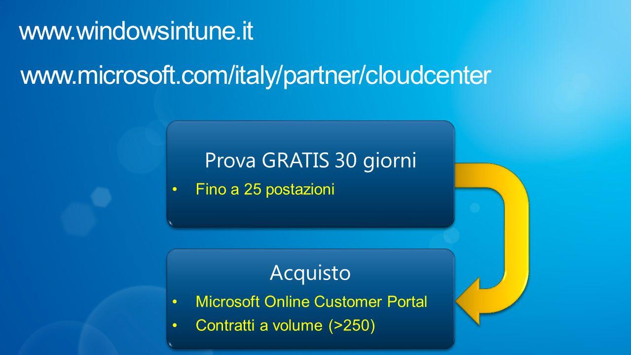 Acquisto Microsoft Online Customer Portal Contratti a volume (>250) Acquisto Microsoft Online Customer Portal Contratti a volume (>250) Prova GRATIS 30 giorni Fino a 25 postazioni Prova GRATIS 30 giorni Fino a 25 postazioni